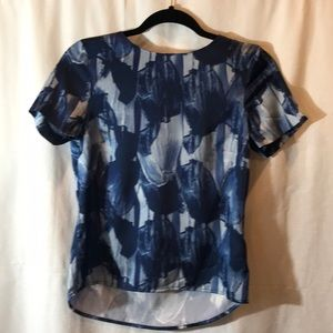 H&M Navy Blue and Light Blue Short sleeve Blouse